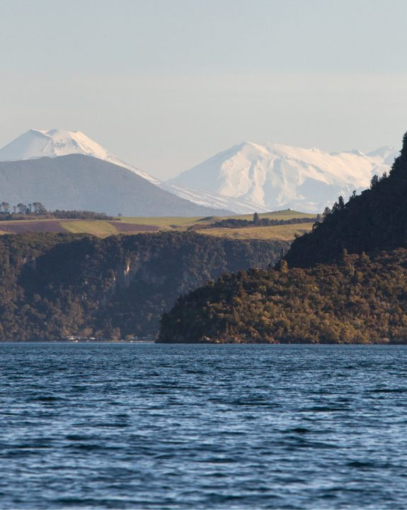 Mountains in background of Lake Taupo